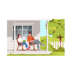 Couple sit in armchairs semi flat vector
