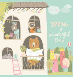 cute animals look out windows hello spring vector image