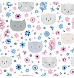 cute background kids seamless pattern with cats vector image