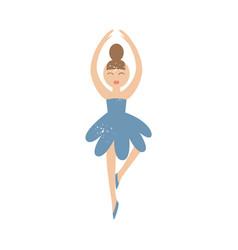 cute cartoon ballerina in blue dress standing in vector image