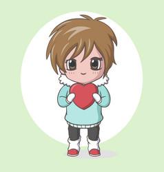 Cute kawaii little boy holding red heart vector