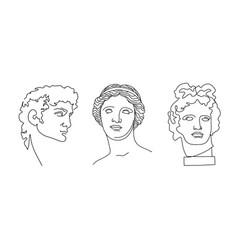 david venus de milo apollo antique statues vector image