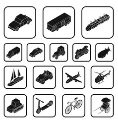 Different types of transport black icons in set vector