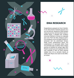 dna research medical banner template in flat style vector image