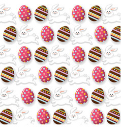 Easter eggs with rabbit decoration background vector