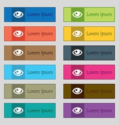 Eye icon sign Set of twelve rectangular colorful vector image