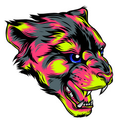 Face of a drawn panther vector