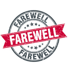 Farewell round grunge ribbon stamp vector