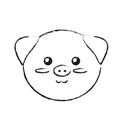 Figure cute wild animal face with expression vector