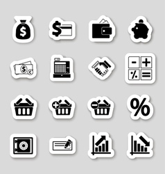 Finance icons on stikers vector