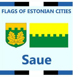 Flag of estonian city saue vector