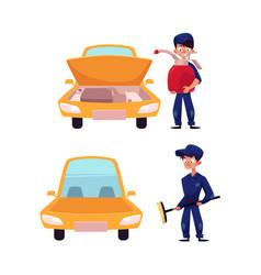 flat mechanic boy near car set vector image