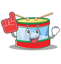 Foam finger toy drum character cartoon vector
