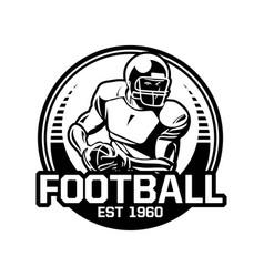 football american badge circle black and white vector image