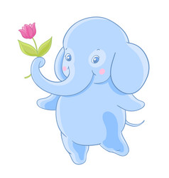 Funny blue cartoon elephant gives a flower vector