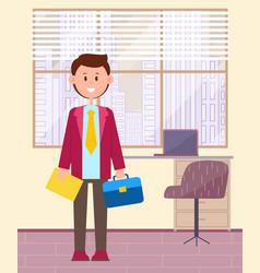funny cartoon businessman young man student doing vector image