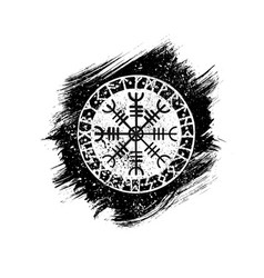 grunge scandinavian viking tattoo symbol vector image