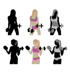 Gym and fitness activity silhouettes vector