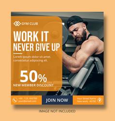 gym post banner template social media vector image