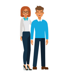 happy standing couple man and woman cartoon flat vector image