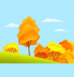 high trees lush bushes grow on a slope autumn vector image