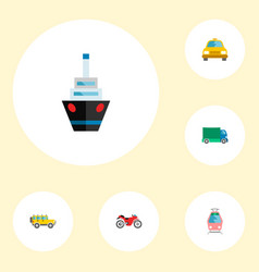 icons flat style taxi ship motorcycle and other vector image