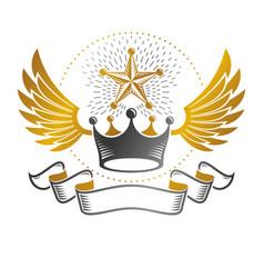 imperial crown emblem heraldic coat of arms vector image