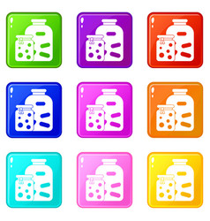 Jars with pickled vegetables and jam icons 9 set vector