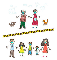 kids drawing family in self-isolation during vector image