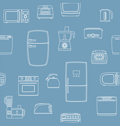 kitchen appliance set seamless background vector image
