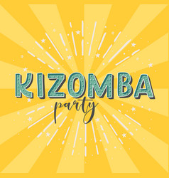 Kizomba party logotype yellow rays background vector