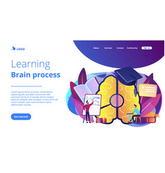 Learning and brain process landing page vector