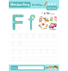 Letter f uppercase and lowercase tracing practice vector