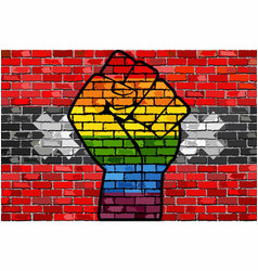 lgbt protest fist on a amsterdam brick wall flag vector image