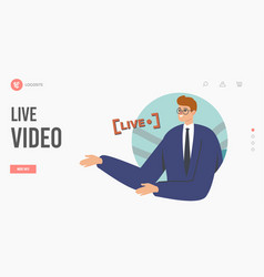 Live stream video landing page template anchorman vector