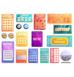 Lottery icons set cartoon style vector