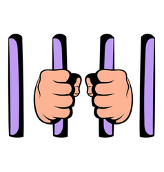 Man behind jail bars icon icon cartoon vector