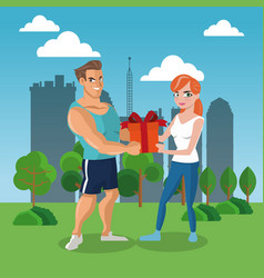 Man giving a gift box to woman vector
