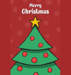 merry christmas card xmas pine tree cartoon vector image