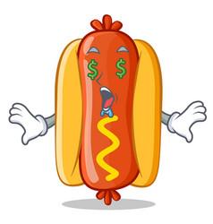 money eye hot dog cartoon character vector image