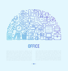 office concept in half circle with thin line icons vector image