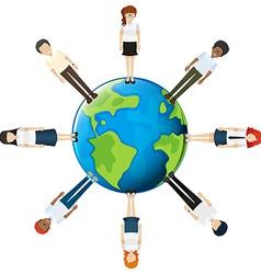 People around globe vector