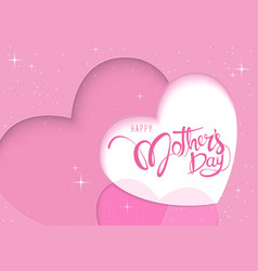 Pink greeting card happy mothers day vector