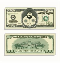 Printable kids moneyone hundred smiles vector