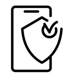 Protected phone icon outline style vector