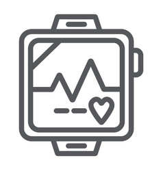 pulsometer line icon heart and cardio heartbeat vector image