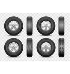 Realistic tires isolated car rubber wheel vector