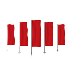 Row of red vertical banner flags vector