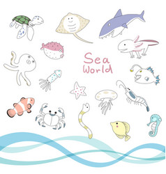 sea animal character set vector image