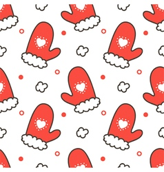 Seamless pattern background with mittens vector image